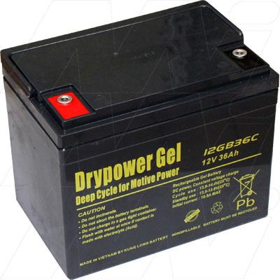 drypower 12v 36ah 12gb36c sealed lead acid gel battery. Black Bedroom Furniture Sets. Home Design Ideas