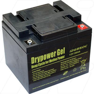 drypower 12v 50ah 12gb50c sealed lead acid gel battery. Black Bedroom Furniture Sets. Home Design Ideas