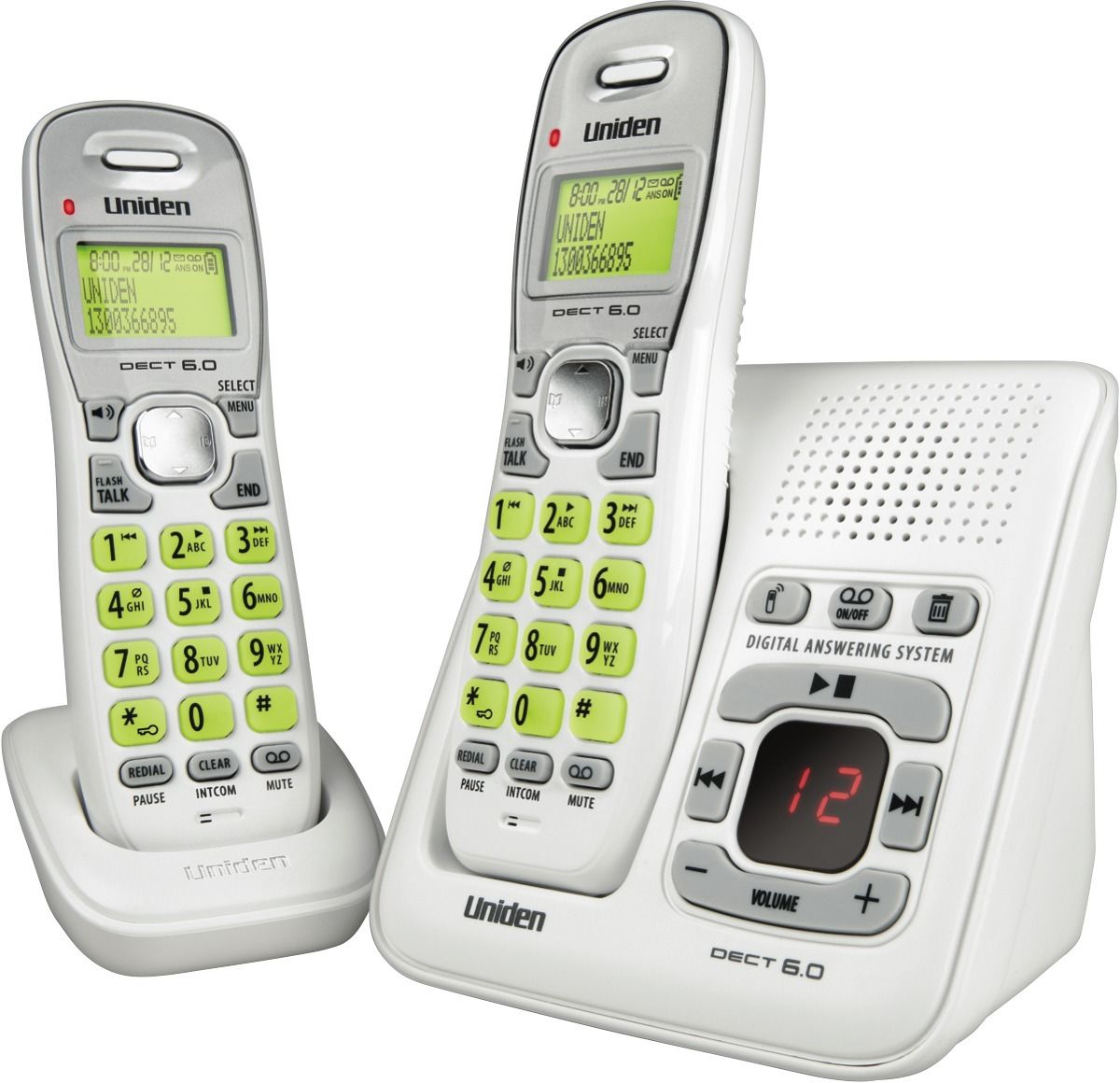 UNIDEN 1635+1 2 HANDSET CORDLESS PHONE AND ANSWER MACHI