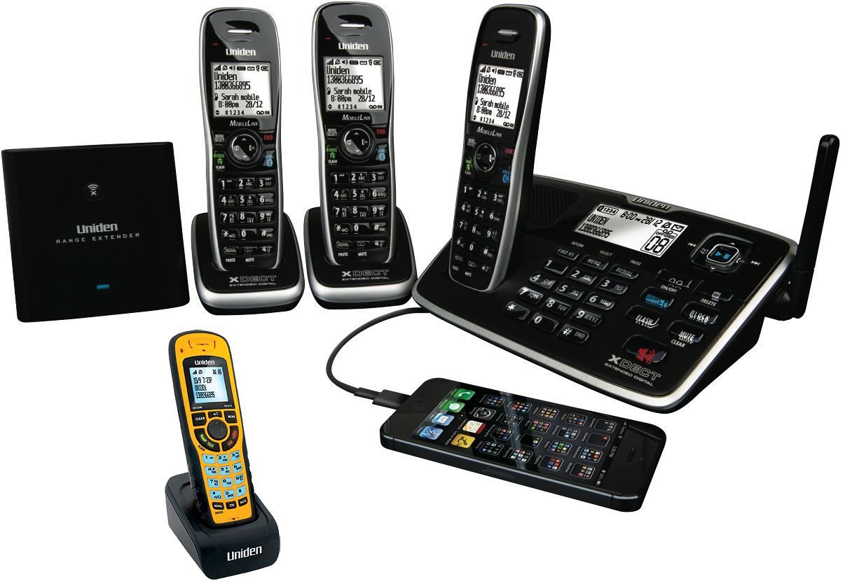 UNIDEN XDECT 8155+3WP 1.8GHZ DIGITAL CORDLESS PHONE 4 H