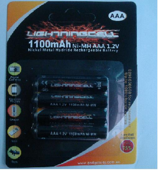 LIGHTNINGCELL 1100MAH AAA NIMH RECHARGEABLE 4 PACK BATTERIES