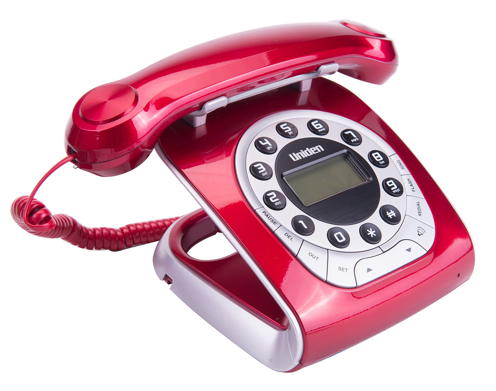 UNIDEN MODRO 15 RED RETRO STYLE CORDED PHONE [MODRO 15