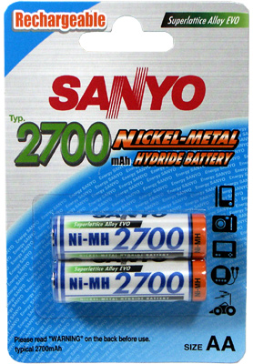 SANYO 2700MAH AA NIMH RECHARGEABLE 2 PACK BATTERY
