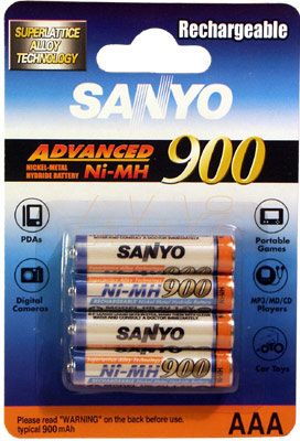SANYO 900MAH AAA NIMH RECHARGEABLE 4 PACK BATTERY