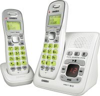 UNIDEN 1635+1 2 HANDSET CORDLESS PHONE AND ANSWER MACHINE WHITE