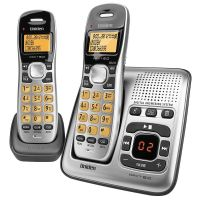 UNIDEN 1735+1 2 HANDSET CORDLESS PHONE AND ANSWER MACHINE SILVER