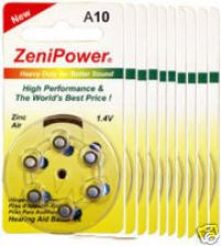 ZENIPOWER HEARING AID BATTERY A10 SIZE 10 10 PACK 60 TOTAL