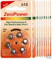 ZENIPOWE HEARING AID BATTERY A13 SIZE 13 10 PACK 60 TOTAL