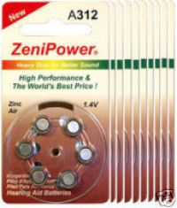 ZENIPOWER HEARING AID BATTERY A312 SIZE 312 10 PACK 60 TOTAL