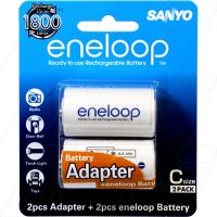 SANYO BC-STG2B-2TM C SIZED ADAPTORS w 2X AA RECHARGEABLE BATTERY