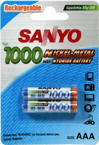 SANYO 1000MAH AAA NIMH RECHARGEABLE 2 PACK BATTERY