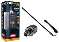 GME TX6155 UHF 5W RADIO+CH5T BLACK 5DB FIBREGLASS ANTENNA PACK